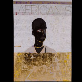 AFRICANS / 2010 / Oil and imitation gold leaf on canvas / 100 x 140 cm
