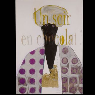 EN CHOCOLAT / 2008 / Oil and imitation gold leaf on canvas / 100 x 140 cm