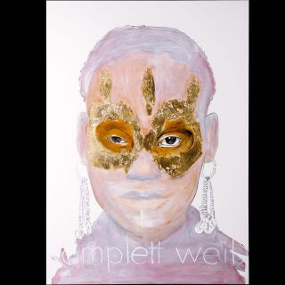KOMPLETT WEISS / 2010 / Oil and imitation gold leaf on canvas / 100 x 140 cm