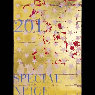 201 / 2016 / Acryl and imitation gold leaf on canvas / 100 x 140 cm