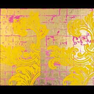 Gelb/Pink / 2017 / Acryl and imitation gold leaf on canvas / 220 x 180 cm