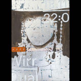 Wirr / 2020 / Acryl and imitation silver leaf on canvas / 100 x 140 cm