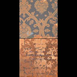 Simply / 2021 / Acryl, oil and imitation copper leaf on canvas / 100 x 200 cm