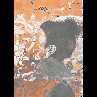Fleur / 2021 / Acryl, oil and imitation copper leaf on canvas / 100 x 140 cm