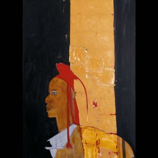 NAMIB / 2008 / Oil and imitation gold leaf on canvas / 100 x 140 cm